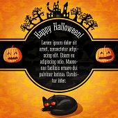 stock photo of happy halloween  - Happy halloween banner with greetings and sample text - JPG