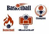 Basketball sport team emblems and symbols