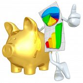 Business Report With Gold Piggy Bank