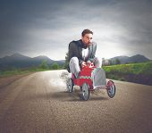 Fast Business With Driving Businessman