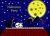 stock photo of moonlit  - Halloween card with ghosts and a frightened cat - JPG