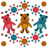 Seamless Pattern With Children's Teddy Bears