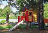 Bright Children's Wooden House With Slide