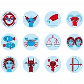 Funny Blue Zodiac Sign Icon Set Astrological, Illustration Vector
