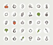 Set of flat design fruit and vegetables icons