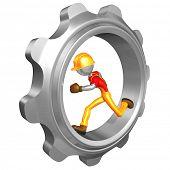 Construction Worker Running In Gear