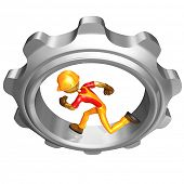 Gold Guy Construction Worker Running In A Cog