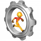 Gold Guy Construction Worker Running In Gear