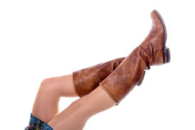 pic of panty-hose  - feminine legs with colored tights with boots on white - JPG