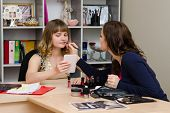 Makeup Artist Helps Office Girl Lipstick