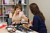 Girl Painted On Consultation Representative Cosmetic Company