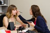 Makeup Artist Apply Makeup To Eyelashes Office Employee