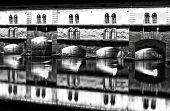 Strasbourg, medieval bridge Ponts Couverts. Alsace, France.  Abstract image.