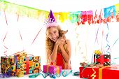 Party blond kid girl happy with puppy present Chihuahua doggy