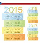 Set Of Czech 2015, 2016, 2017 Color Vector Calendars