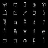 Packaging Line Icons With Reflect On Black Background