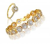 Best gold bracelet and ring with diamonds