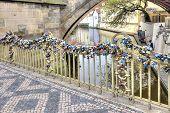 Locks Newlyweds On The Fence Of The Bridge