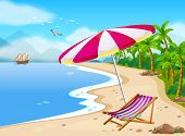 Illustration of a beach view with umbrella
