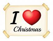 Illustration of I love Christmas sign
