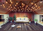 picture of attic  - Hanging sofa in the attic interior - JPG