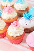 stock photo of sugarpaste  - delicious cupcakes dessert served for big party - JPG