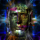 pic of cyborg  - Cyborg artwork with computer electronics - JPG