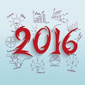 2016 New Year's background. Vector illustration for design