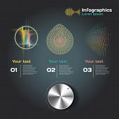 infographics with sound waves on a dark background