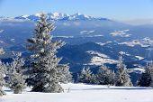 Winter scene in Slovakia, view from Kubinska Hola Ski Park on High Tatras