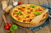 Tart With Cheese And Cherry Tomatoes