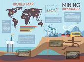 image of minerals  - Mining infographics set with drilling industry and mineral extraction process symbols and charts vector illustration - JPG
