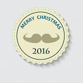 Christmas logo with text and mustache vector