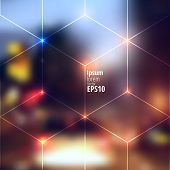 picture of glow  - Blur lights city background with lines of cubes - JPG