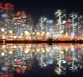 View of city night with blurred bokeh