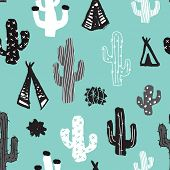 picture of teepee tent  - Seamless mint cacti illustration indian summer adventure teepee tent camping trip theme background pattern in vector - JPG