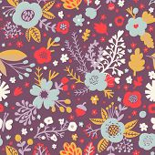 Seamless pattern with poppy flowers and acorns in stylish colors