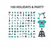 100 holidays, party, events flat isolated icons, signs, illustrations vector set on background