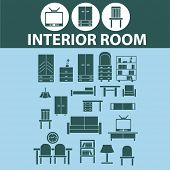 interior room, furniture, design icons, signs set, vector