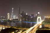 traffic blur motion on bridge with night cityscape background of Guangzhou