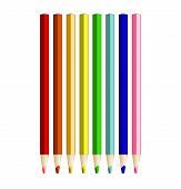 Color Pencils In Arrange In Color Row On White Background