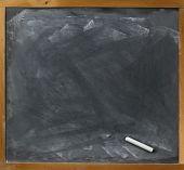 Blank Blackboard And Chalk Straight On