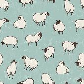Herd of sheep. Seamless vector pattern.
