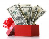 Bundle of dollars in present box with bow isolated on white