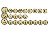 Knowledge, skills, and abilities (KSA) is a concise essay about one's talent and expertise and related experiences. A word abstract in old typewriter keys