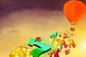 Hot air balloon with dice, lucky sevens and balloons flying from