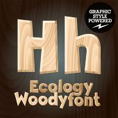 Vector font set of wood ecology font. Letter H