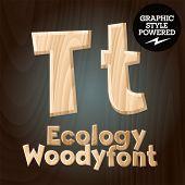 Vector font set of wood ecology font. Letter T
