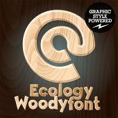 Vector font set of wood ecology font. Symbols 1