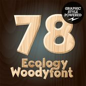 Vector font set of wood ecology font. Numbers 7 8